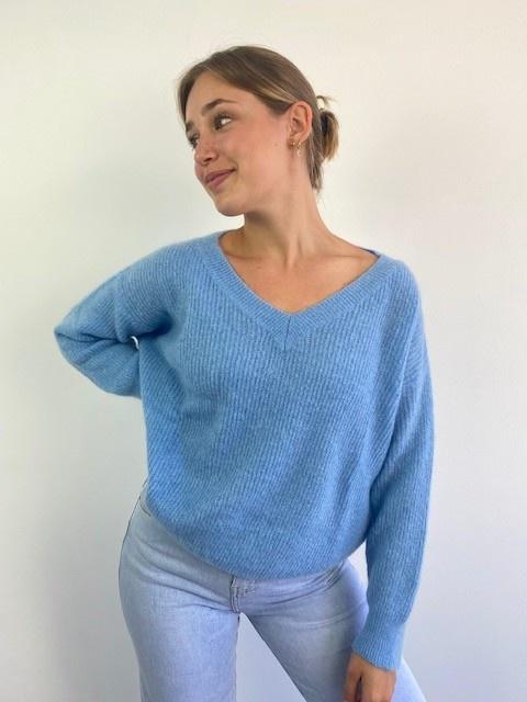 Louna v-neck knitted pull Sky Blue-4