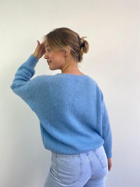 Louna v-neck knitted pull Sky Blue-3