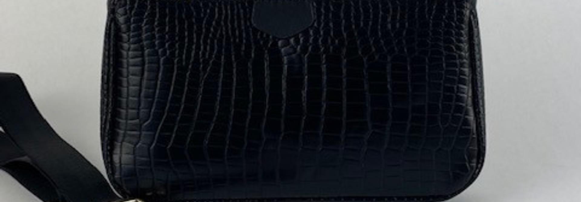 Celina triple croco bag Black