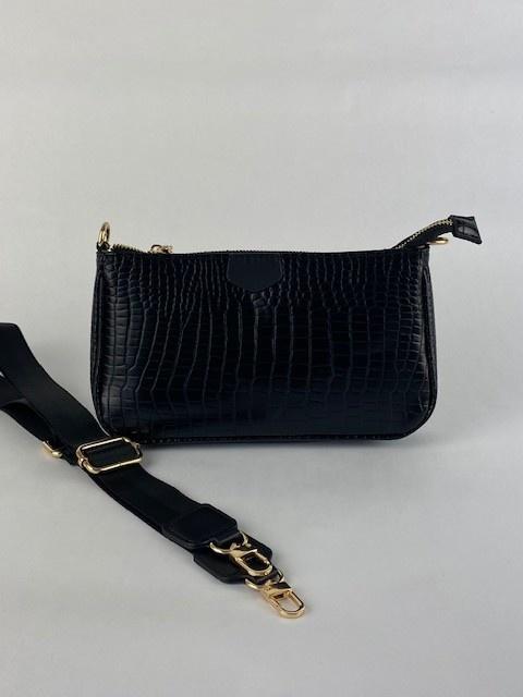Celina triple croco bag Black-1