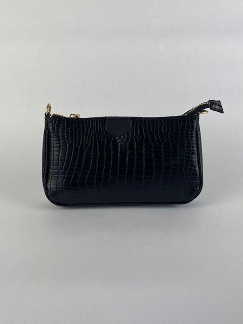 Celina triple croco bag Black-2