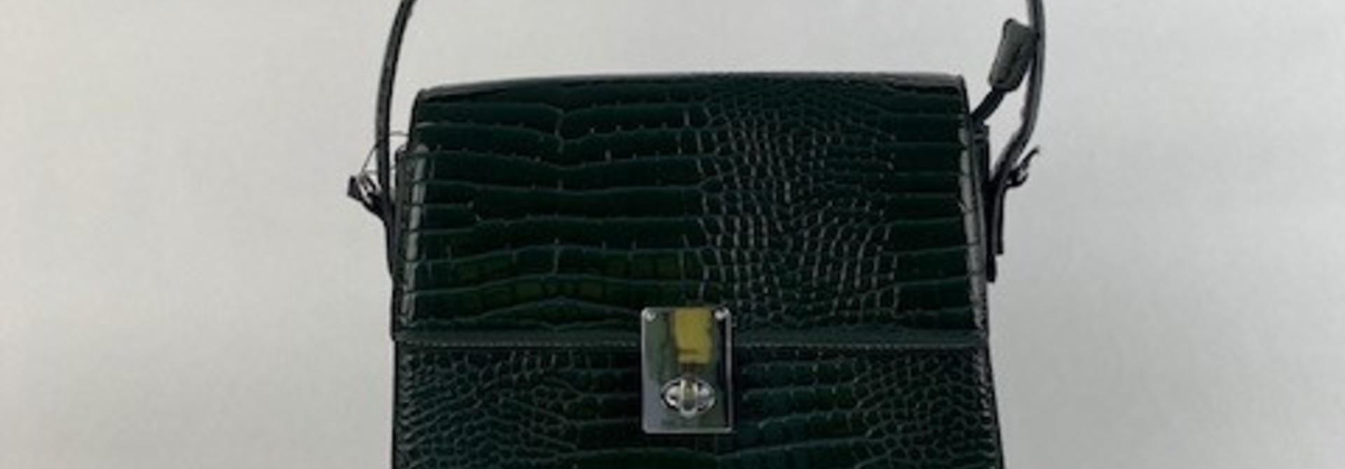 Delfine big croco bag Green