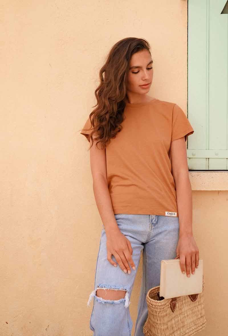 Chanae cotton t-shirt Safran-2