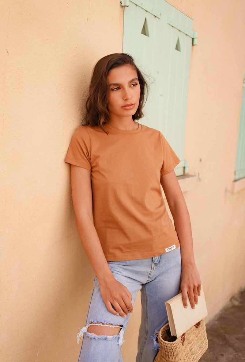 Chanae cotton t-shirt Safran-1