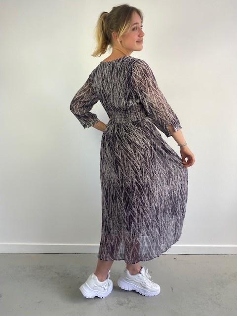 Belinay batic sneak midi dress Purple-5