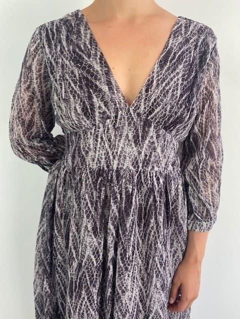 Belinay batic sneak midi dress Purple-2