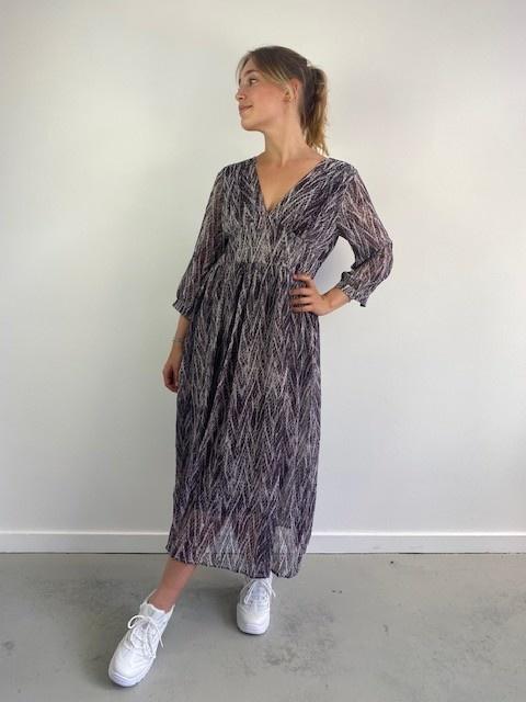 Belinay batic sneak midi dress Purple-3