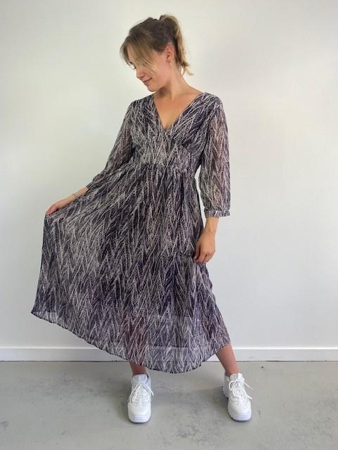 Belinay batic sneak midi dress Purple-1