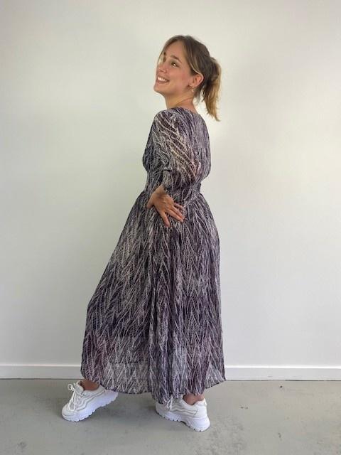 Belinay batic sneak midi dress Purple-4