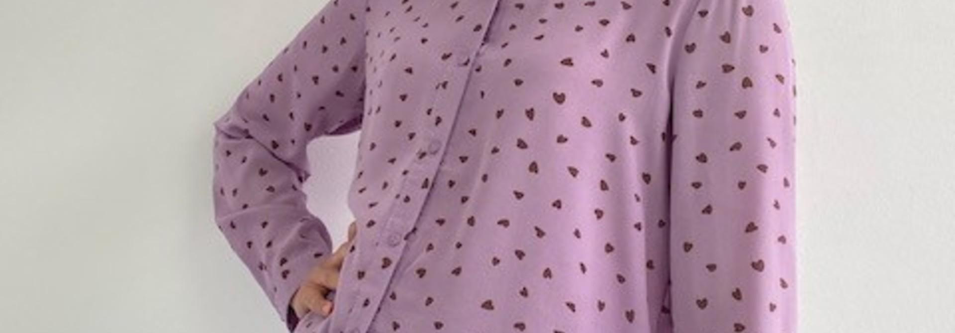 Loavi hearts blouse Purple