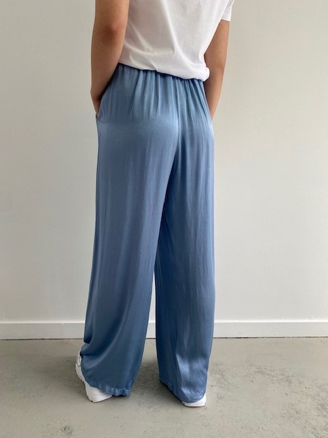 Candys satin wide pant Blue-3