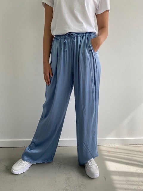 Candys satin wide pant Blue-4