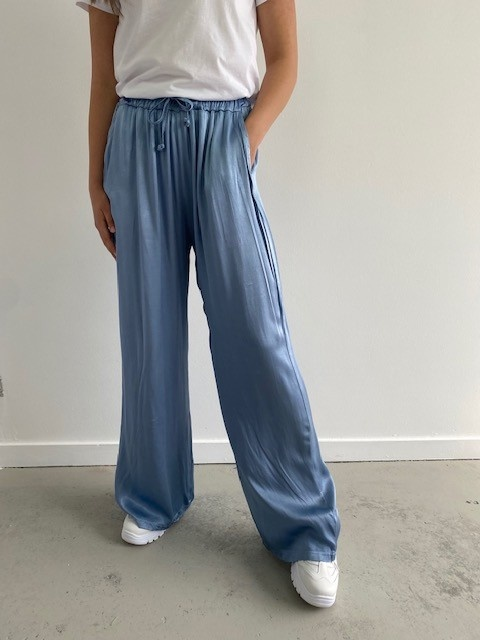 Candys satin wide pant Blue-1