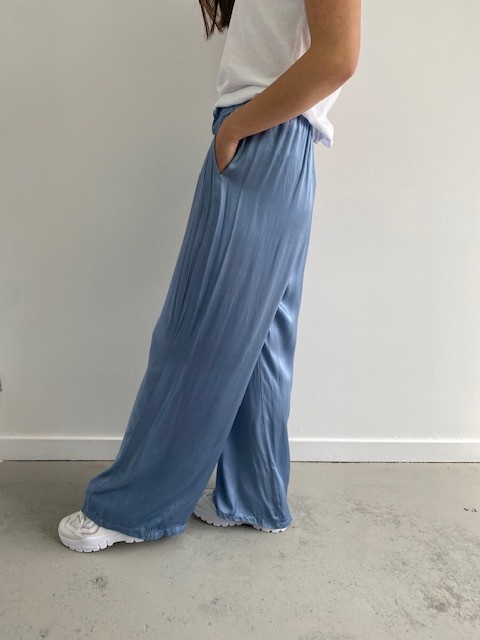 Candys satin wide pant Blue-2