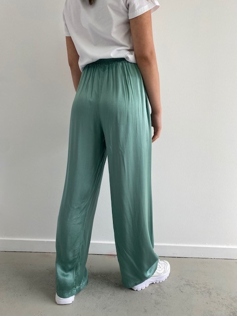 Candys satin wide pant Blossom Green-2