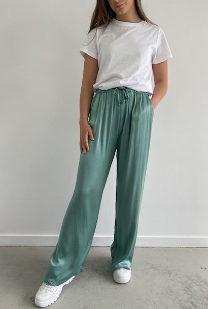 Candys satin wide pant Blossom Green