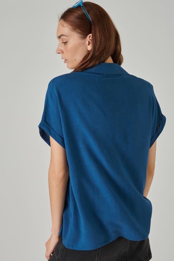 Rita twisted sleeve cropped blouse Petrol-3