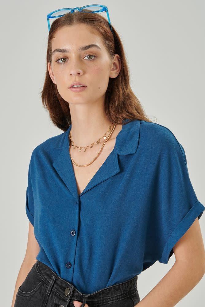 Rita twisted sleeve cropped blouse Petrol-2