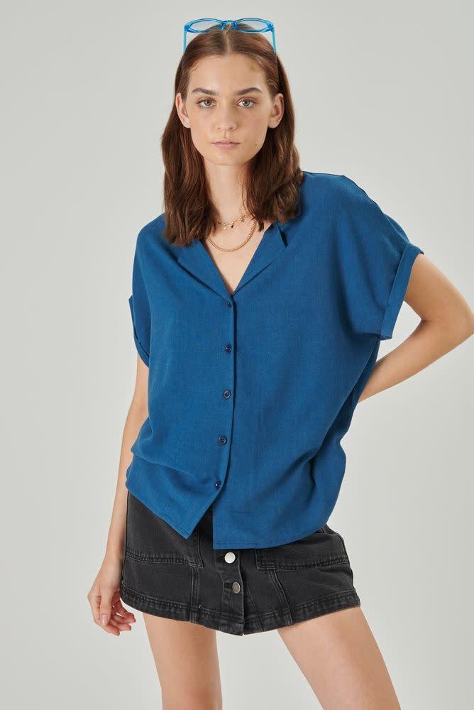 Rita twisted sleeve cropped blouse Petrol-4