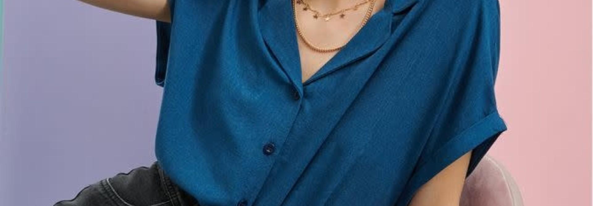 Rita twisted sleeve cropped blouse Petrol