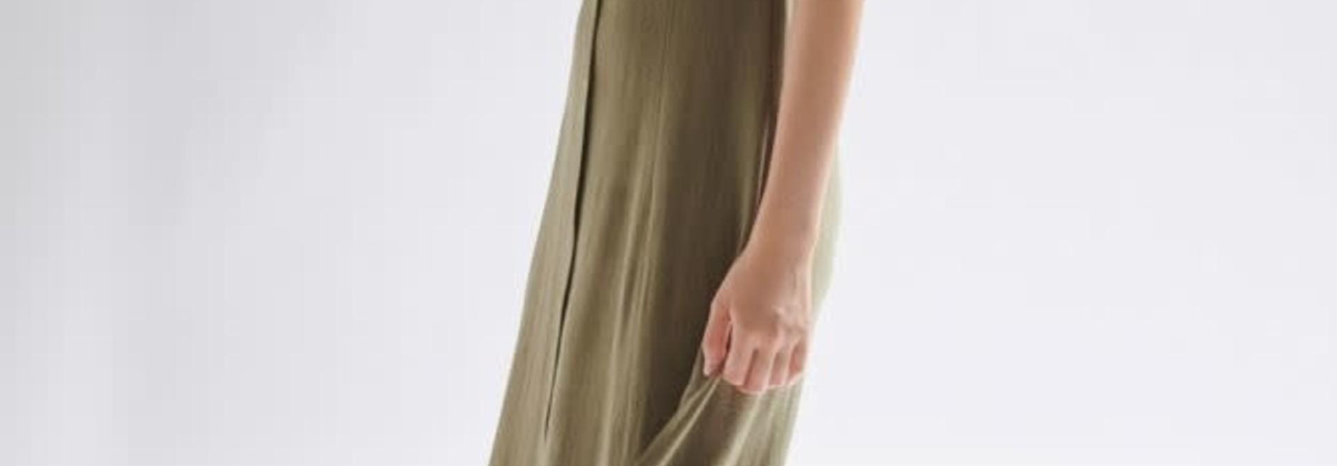Mitta linen  midi dress Khaki