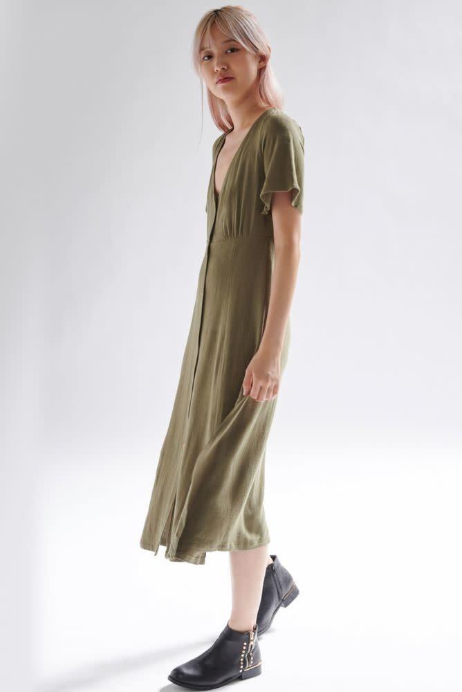 Mitta linen  midi dress Khaki-1