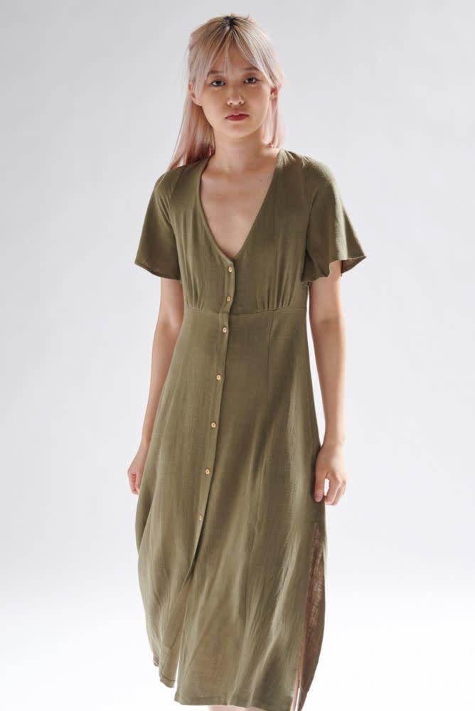 Mitta linen  midi dress Khaki-2