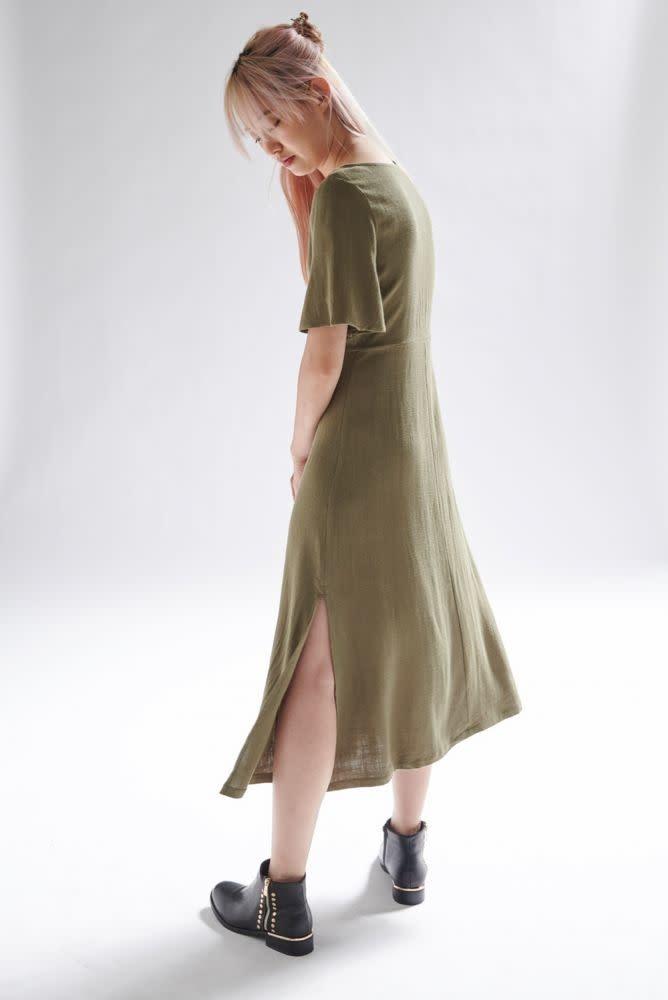 Mitta linen  midi dress Khaki-3