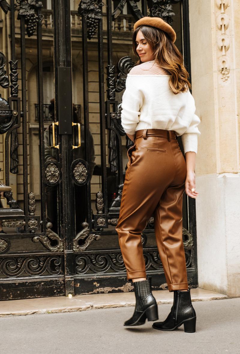 Sam leather mom pant Camel-4