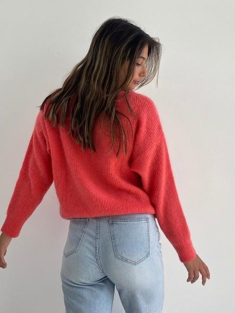 Louna v-neck knitted pull Blossom Coral-3