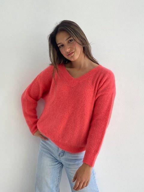 Louna v-neck knitted pull Blossom Coral-4