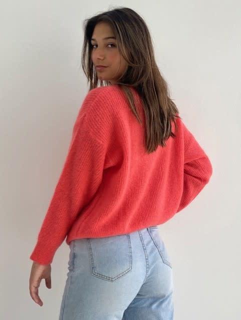 Louna v-neck knitted pull Blossom Coral-2