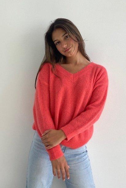 Louna v-neck knitted pull Blossom Coral