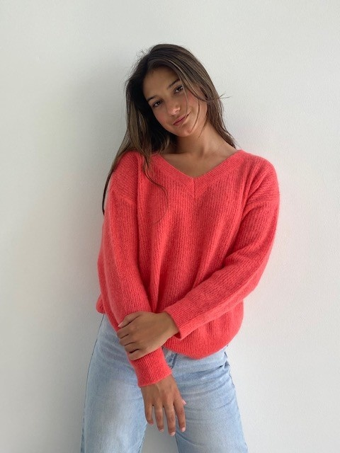 Louna v-neck knitted pull Blossom Coral-1