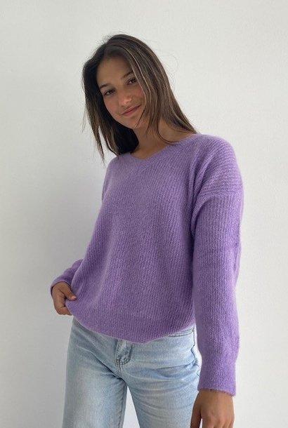 Louna v-neck knitted pull Lila