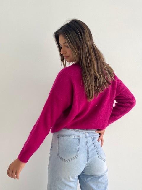 Louna v-neck knitted pull Raspberry-3