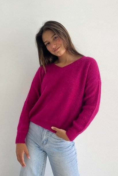 Louna v-neck knitted pull Raspberry