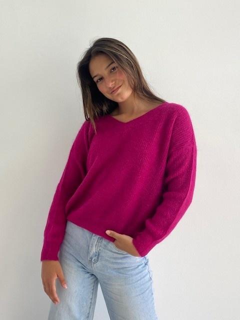 Louna v-neck knitted pull Raspberry-1