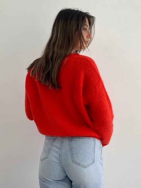 Louna v-neck knitted pull Bight Orange-2