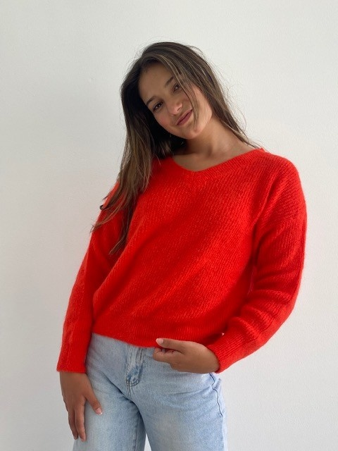 Louna v-neck knitted pull Bight Orange-3