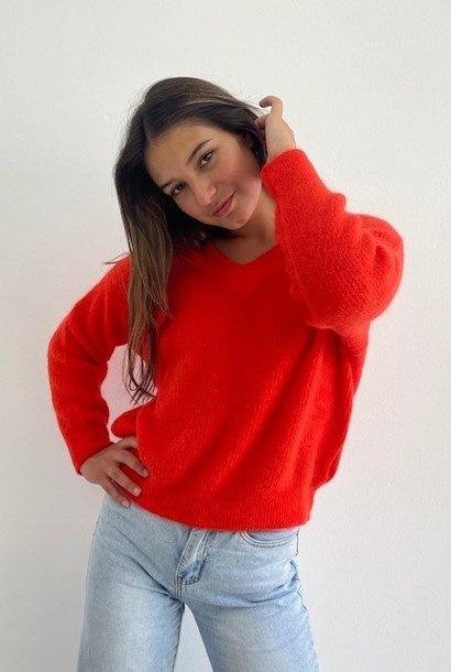 Louna v-neck knitted pull Bight Orange
