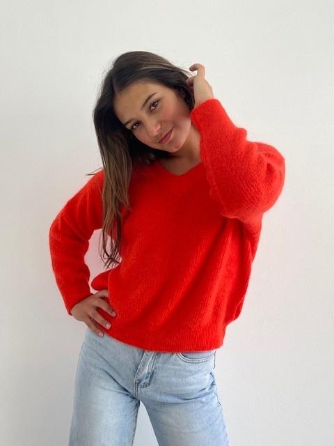 Louna v-neck knitted pull Bight Orange-1