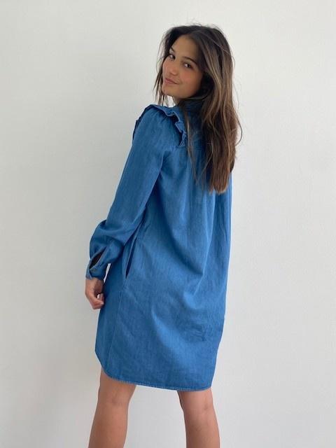 Charissa ruches dress Denim-4