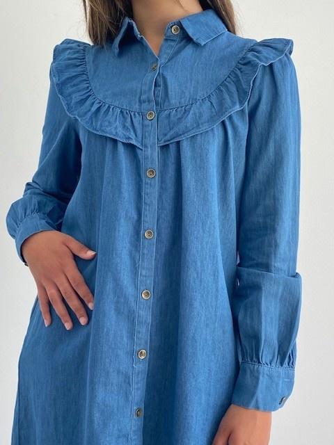 Charissa ruches dress Denim-2