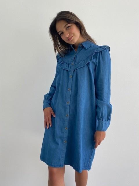 Charissa ruches dress Denim-5