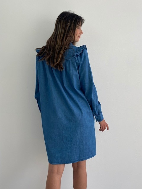 Charissa ruches dress Denim-3