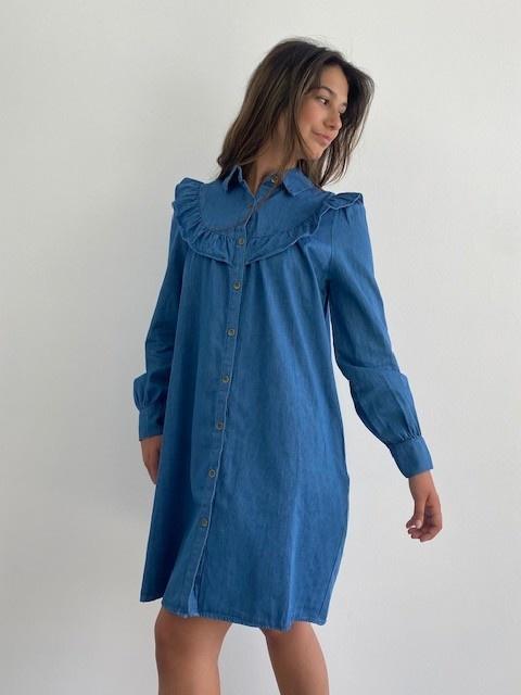 Charissa ruches dress Denim-1
