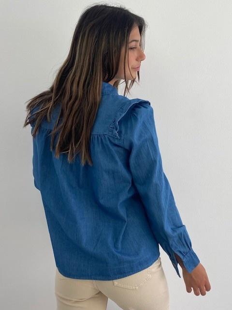 Catline ruches blouse Denim-3