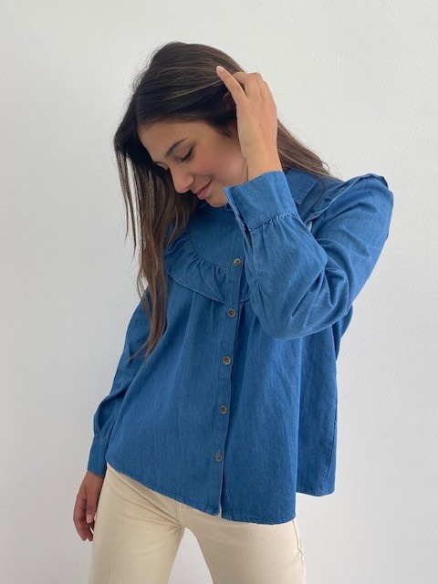 Catline ruches blouse Denim-2