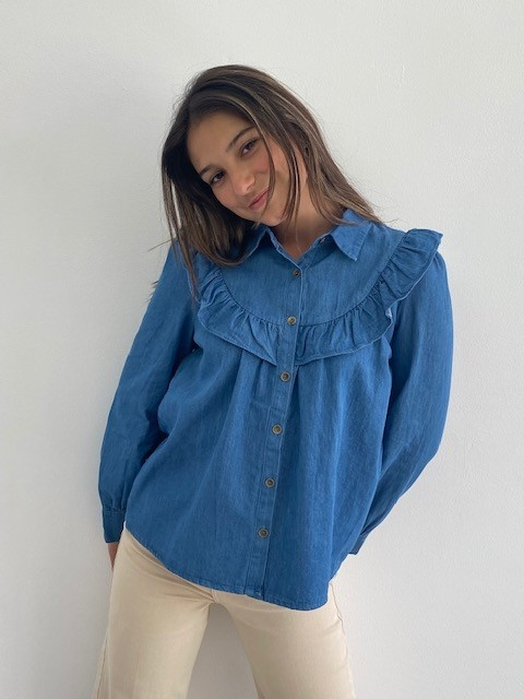 Catline ruches blouse Denim-4